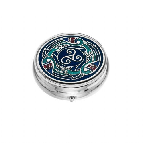 Large Pill Box Silver Plated Celtic Birds Design Brand New & Boxed